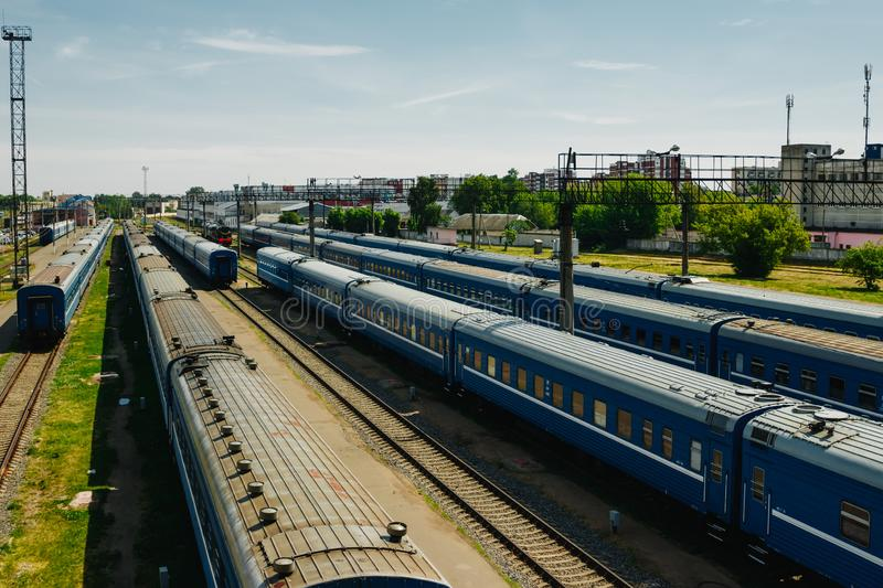 Freight and passenger train waiting at the train station parking lot.Cargo transit.import export and business logistic.Aerial view. Top view royalty free stock image
