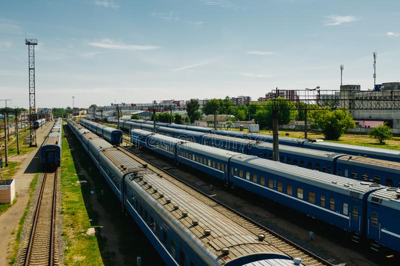 Freight and passenger train waiting at the train station parking lot.Cargo transit.import export and business logistic.Aerial view. Top view royalty free stock photos