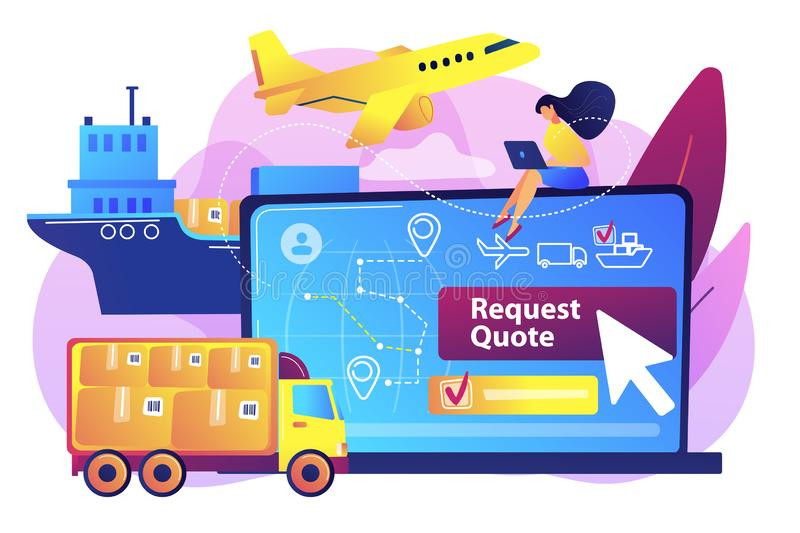 Freight quote request concept vector illustration royalty free illustration