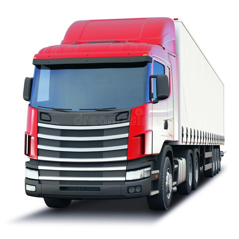 Freight semi-truck isolated on white background. Creative abstract shipping industry, logistics transportation and cargo freight transport industrial business royalty free illustration