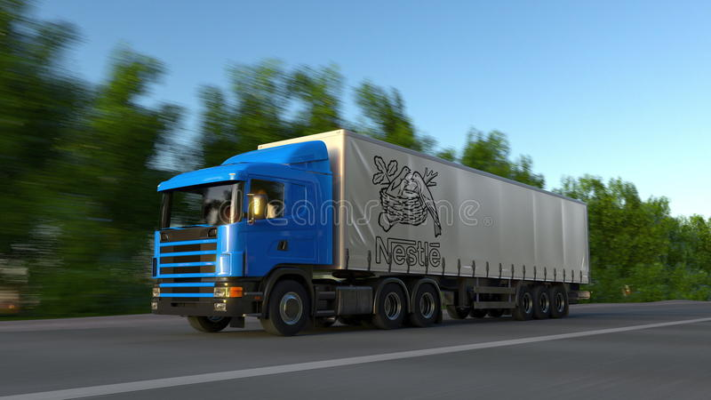 Freight Semi Truck With Nestle Logo Driving Along Forest Road ...