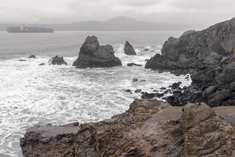 Coastal views from Land`s End towards the Golden Gate strait on a winter day. royalty free stock photos