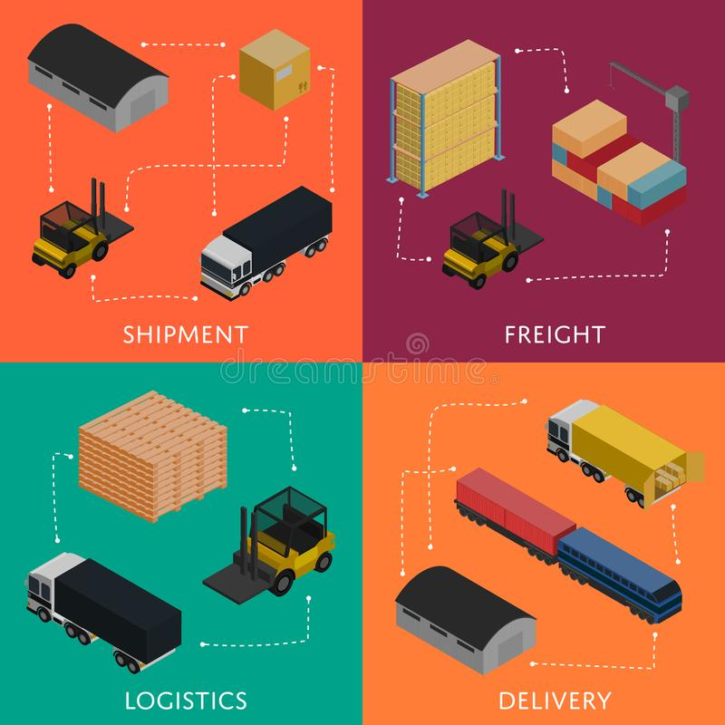 Freight shipment and delivery logistics set royalty free illustration