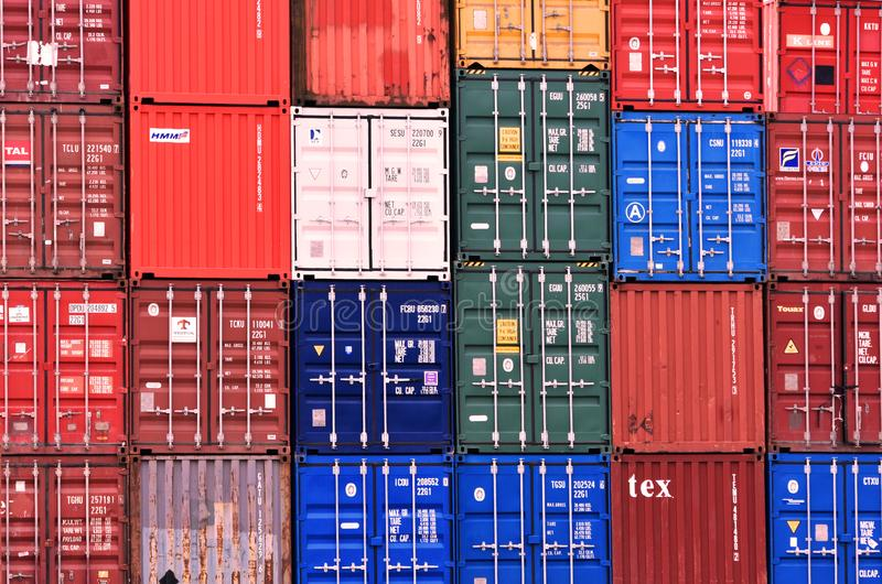 Freight Shipping Containers at Southampton Docks in the UK. 2018. Multi coloured freight shipping containers at one of the UK`s busiest docks royalty free stock photo