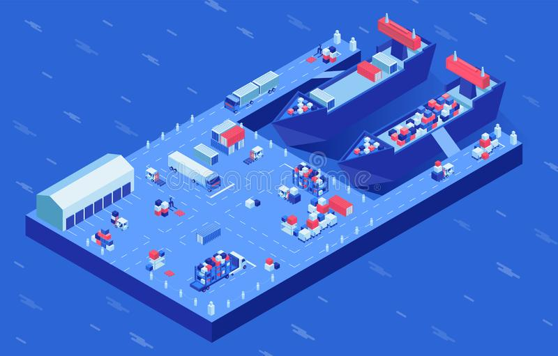 Freight ships in harbor isometric vector illustration. Industrial vessel loading process, marine and ground transport at royalty free illustration