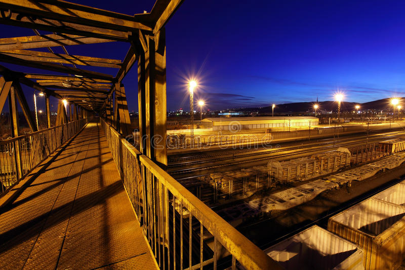 Download Freight Station With Steel Footbridge Royalty Free Stock Image - Image: 18956366