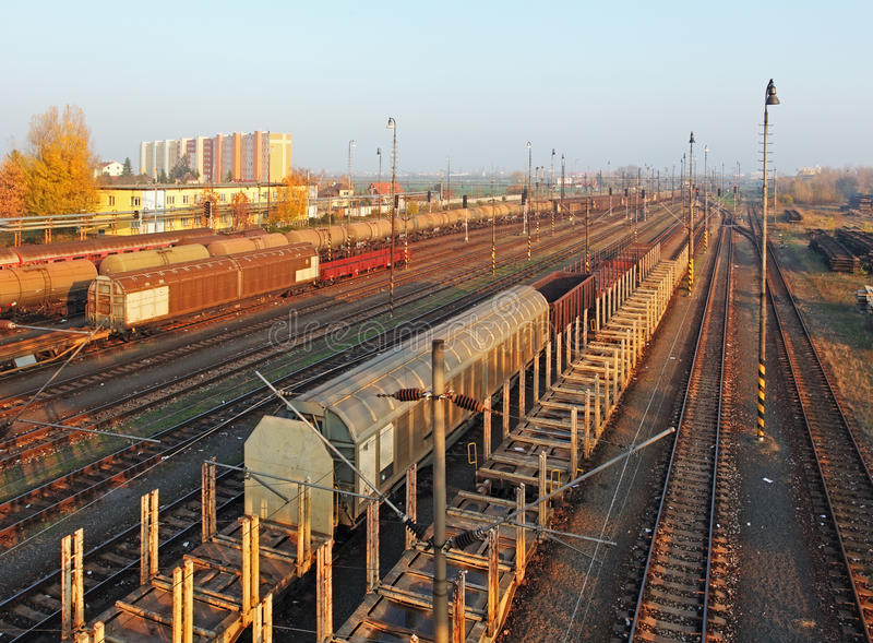 Download Freight Station With Trains Stock Image - Image: 28171897