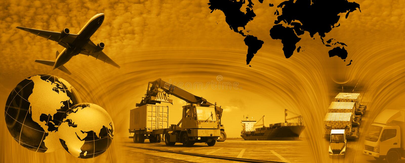 Freight template 2010 version 2 gold stock photo