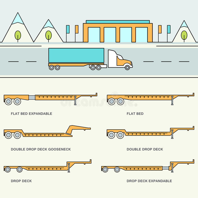 Freight Trailer and Trucks Types Infographics vector illustration