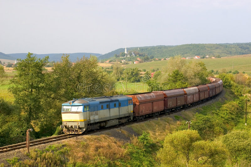 Freight train. A transit-train in Hungary, hauled by a Slovakian locomotive (Bardotka royalty free stock photography