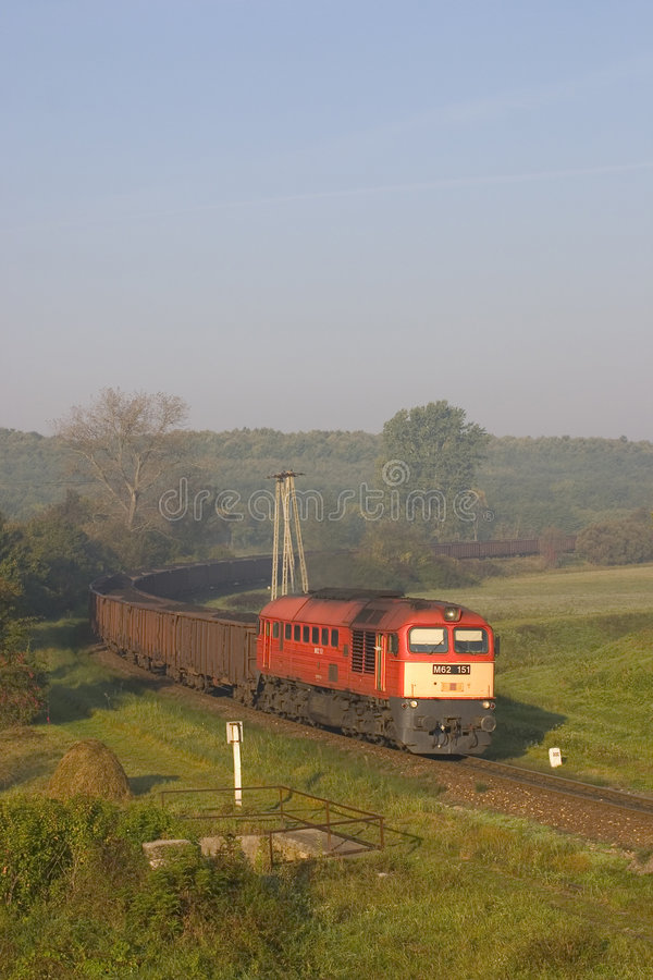 Freight train. Hungarian freight train hauled by a type M62 locomotive. It was transporting coal stock photos