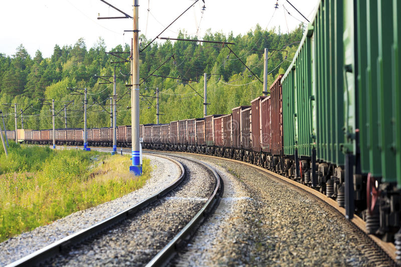 Freight train. On its way stock photography
