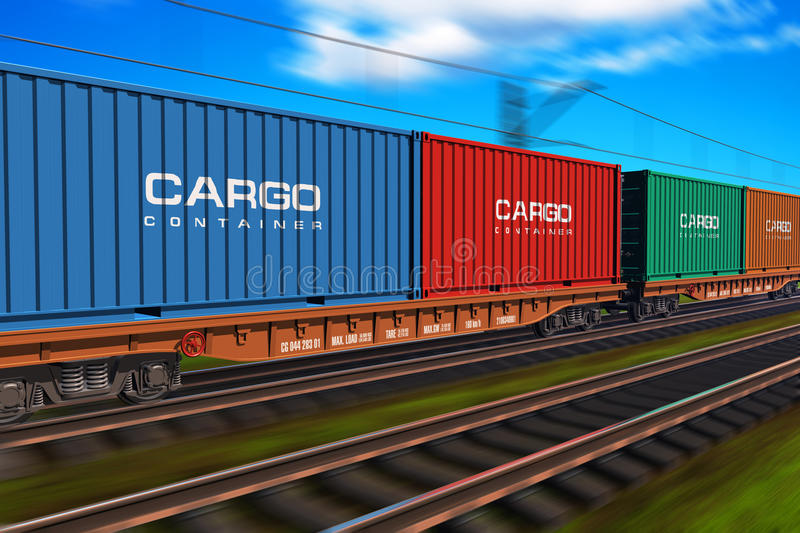 Freight train with cargo containers. With motion blur effect vector illustration