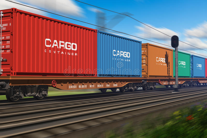 Download Freight Train With Cargo Containers Stock Illustration - Illustration of concept, rail: 23180518