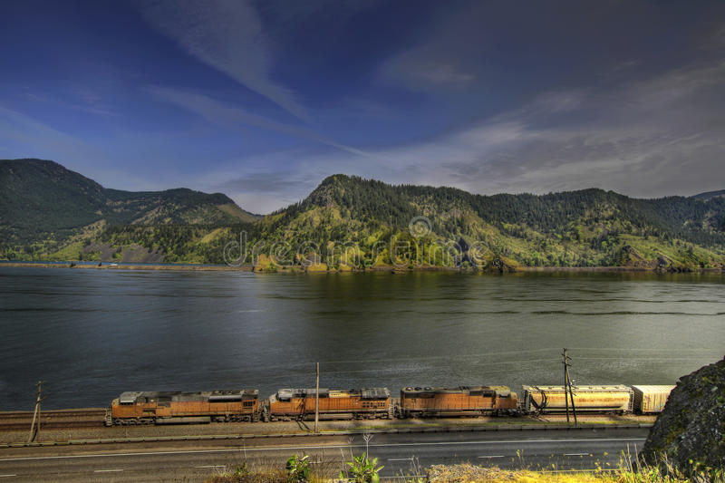 Freight Train on Columbia River Gorge stock photos