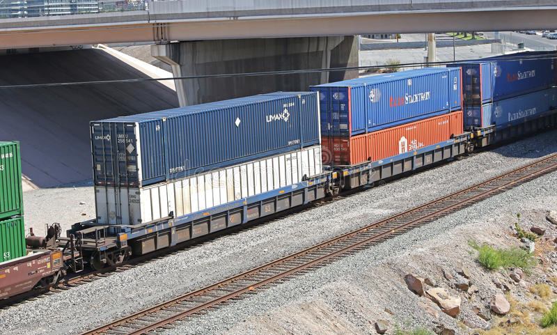 Freight train with containers royalty free stock photos