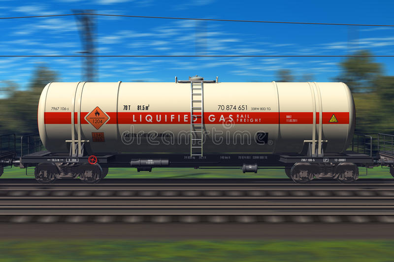 Freight train with gasoline tanker cars royalty free illustration