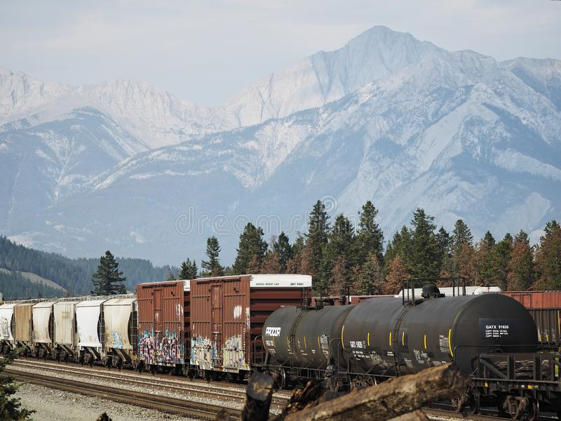 Freight train with graffiti passing through Jasper, Alberta, Canada. Rocky Mountains in background. Copy space. royalty free stock photo