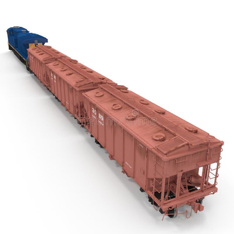 Freight train with hopper cars on white. 3D illustration vector illustration