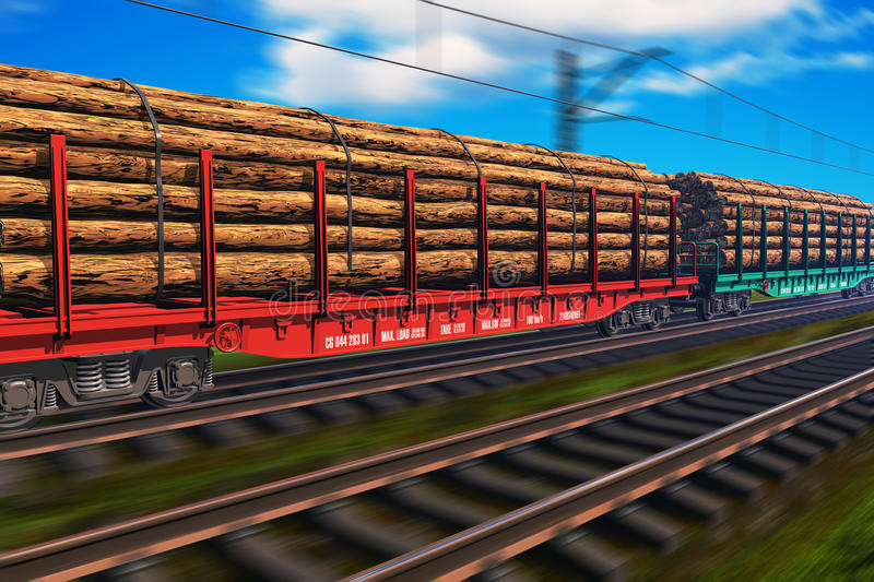 Freight train with lumber. With motion blur effect royalty free illustration