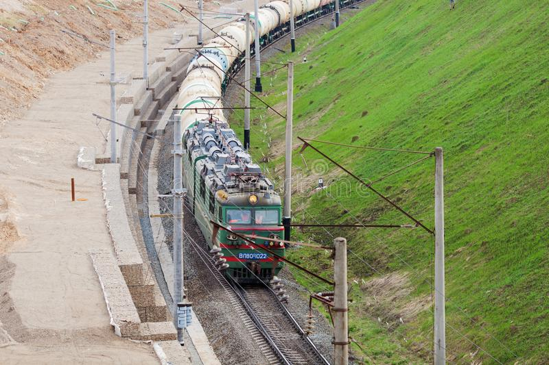 Freight train in Russia royalty free stock photography