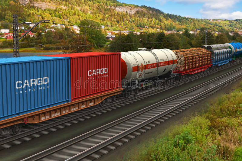 Freight train passing by mountain range stock illustration