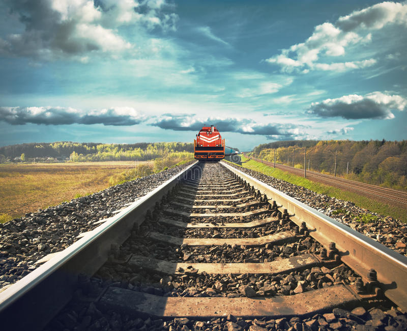 Freight train on railroad stock photo