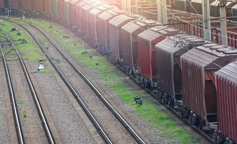 Freight train on a railroad royalty free stock images