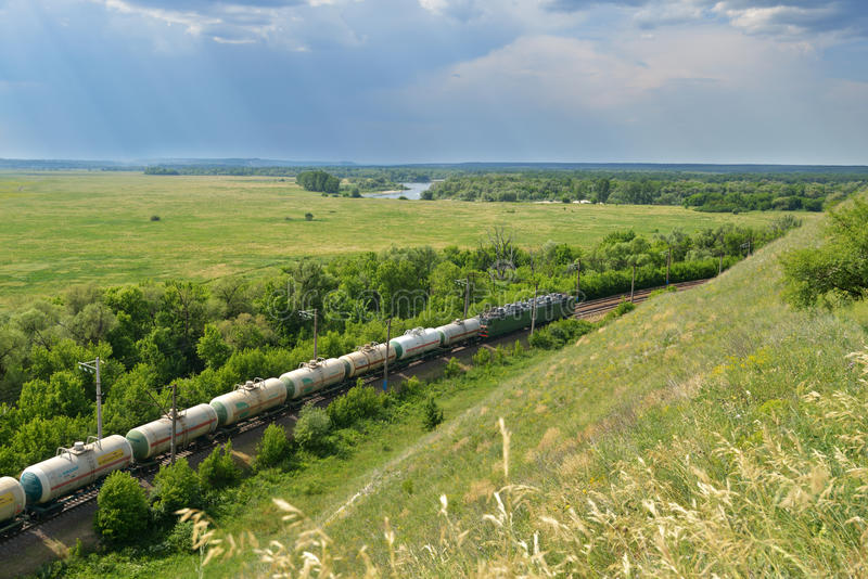 Freight train in Russia stock photos
