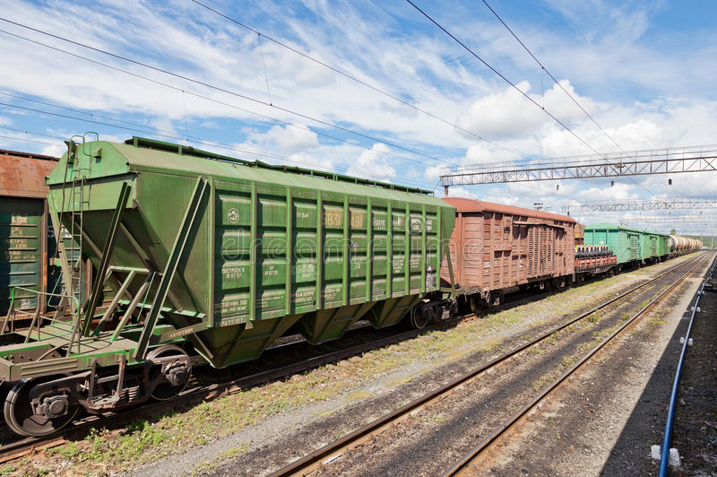 Freight train in Russia royalty free stock image