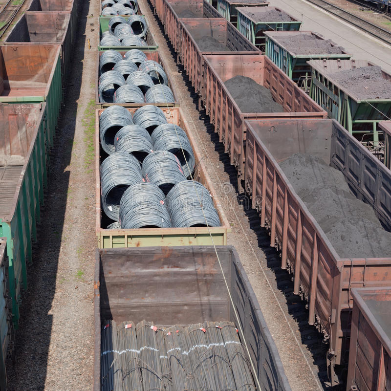 Freight trains. Cargo transportation, freight trains with goods on railway stock photo