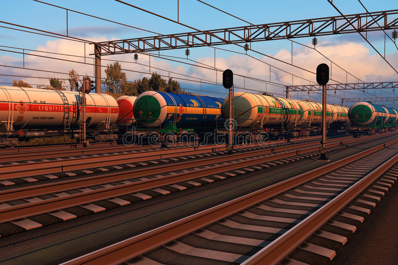 Freight trains with fuel tank cars in sunset stock illustration