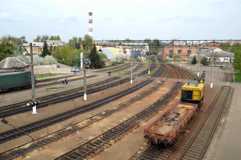 Freight trains on spring cargo terminal. Lviv. stock image
