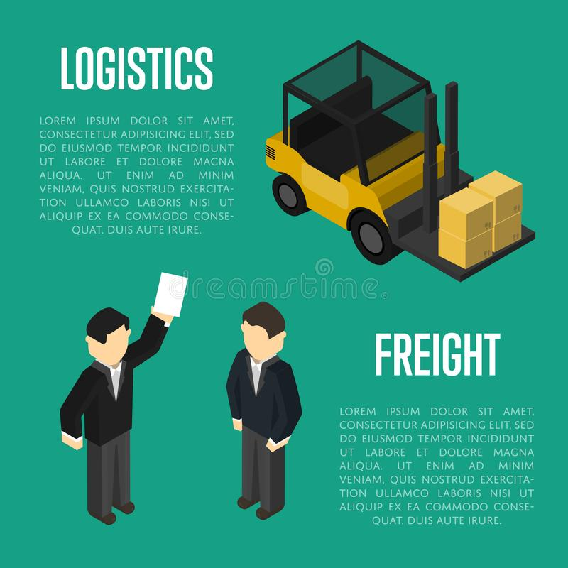 Freight logistics isometric banner with people vector illustration