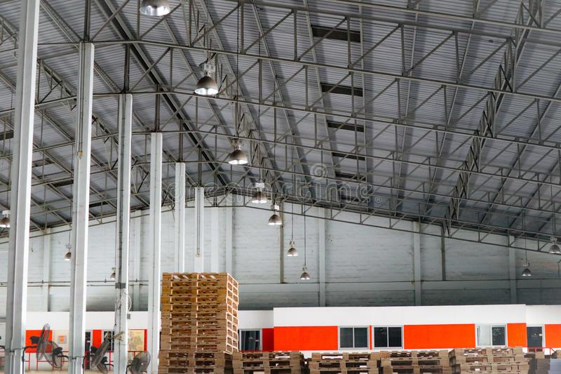 Freight transportation and logistics industry warehouse cargo and metal frame roof factory.  stock photos