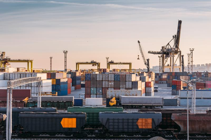 Freight transportation sea port for import and export goods in cargo containers with cranes, industrial business shipping. Freight transportation sea port for stock photos