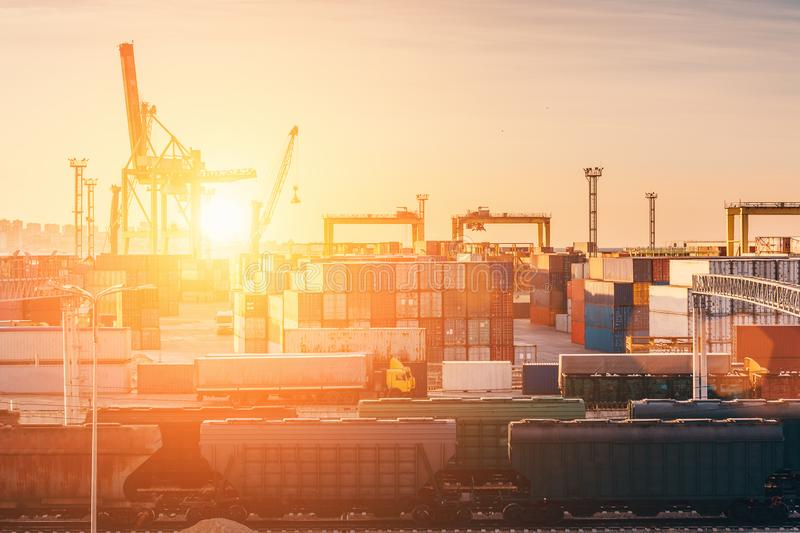 Freight transportation sea port for import and export goods in cargo containers with cranes, industrial business logistic terminal royalty free stock image