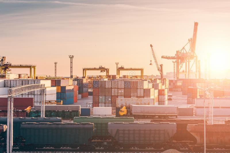 Freight transportation sea port for import and export goods, cargo containers with cranes, industrial business shipping. Freight transportation sea port for royalty free stock photography