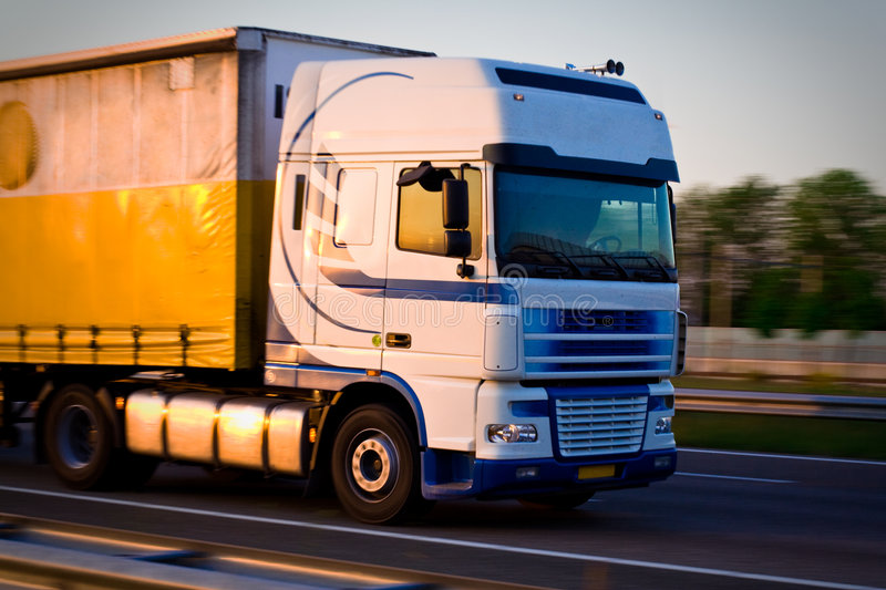 Freight truck on move stock images