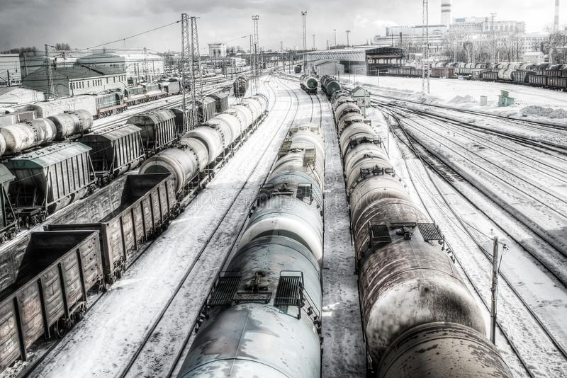 Download Freight wagons, HDR stock image. Image of railyard, transport - 13276877
