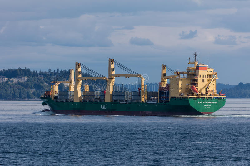 Freighter in Elliot Bay stock photography