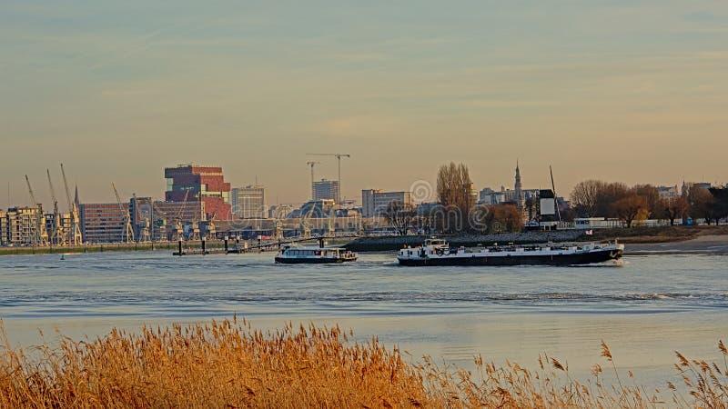 Freighter i prom na rzecznym Scheldt w porcie Antwerp obrazy royalty free
