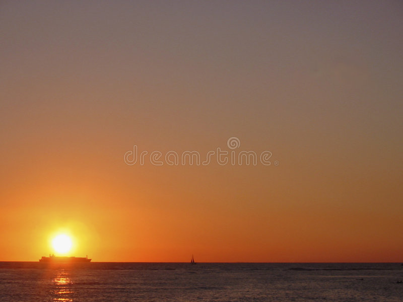 Freighter's Sunset stock photography