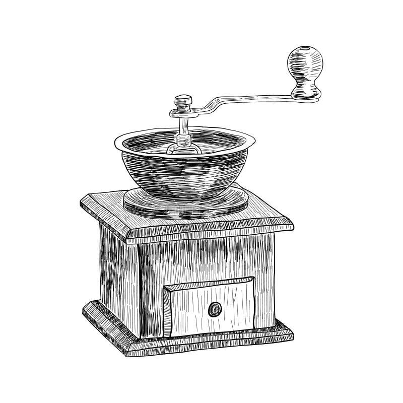 Freihändige Bleistift-Zeichnung der Kaffeemühle lokalisiert auf weißer Hintergrundvektorillustration Retro- manuelle Kaffeemühle  lizenzfreie abbildung