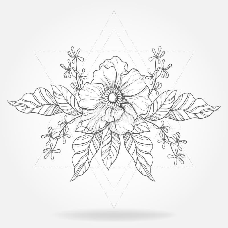 Freihändige boho Tätowierung Blackwork-Blume in Hippie-Dreiecke fram vektor abbildung