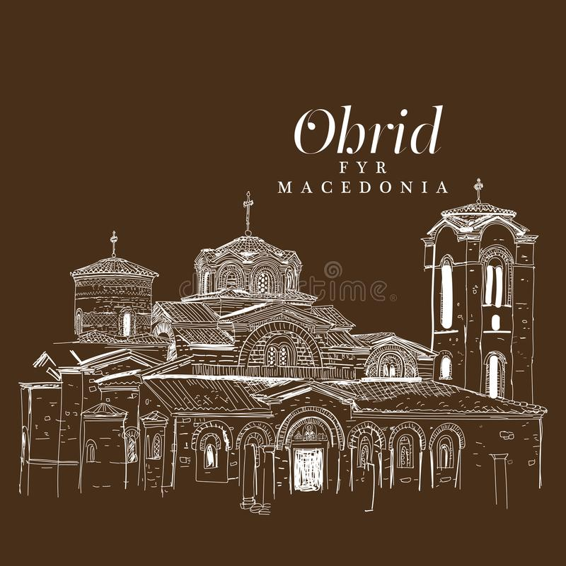 Freihändige digitale Zeichnung der Kirche von Panteleimon, Ohrid, MA lizenzfreie abbildung