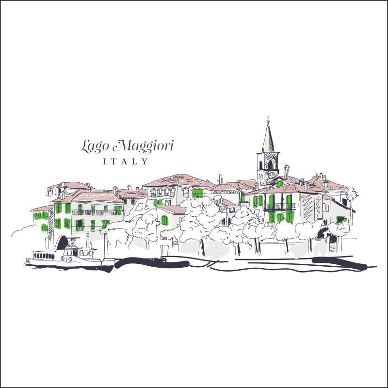 Freihändige digitale Zeichnung von Lago Maggiore, Italien lizenzfreie abbildung