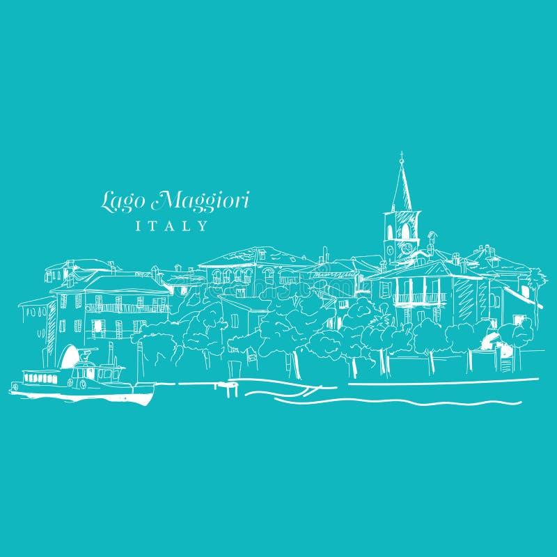 Freihändige digitale Zeichnung von Lago Maggiore, Italien stock abbildung