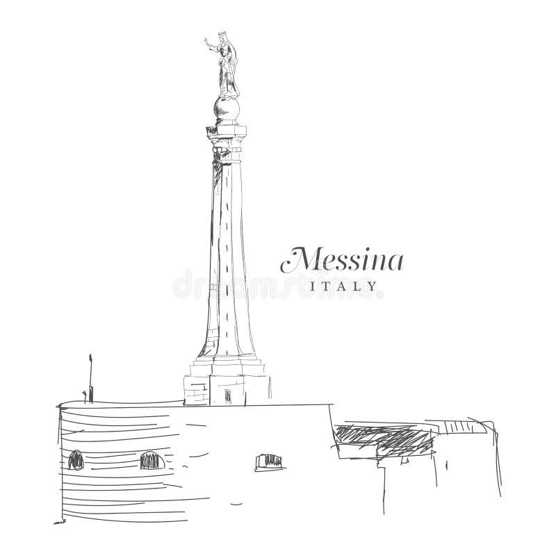 Freihändige digitale Zeichnung von Messina, Italien lizenzfreie abbildung