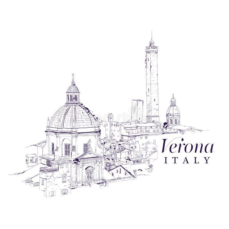Freihändige digitale Zeichnung von Verona, Italien lizenzfreie abbildung